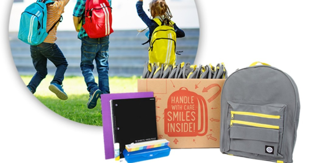 photo of kids wearing backpacks inset with school supplies