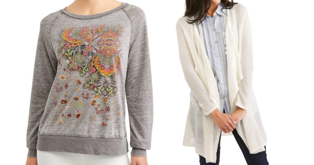 grey sweatshirt and open cardigan