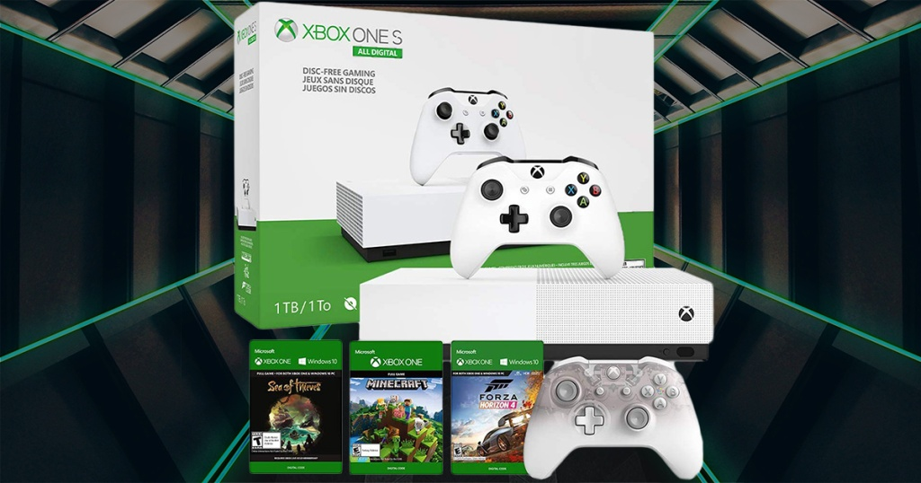 xbox one s all digital bundle with extra controller and games