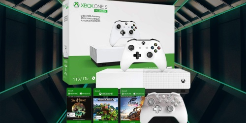Amazon Prime | Xbox One S All-Digital Edition, Xbox Phantom White Controller + 3 Game Codes Only $199.99 Shipped