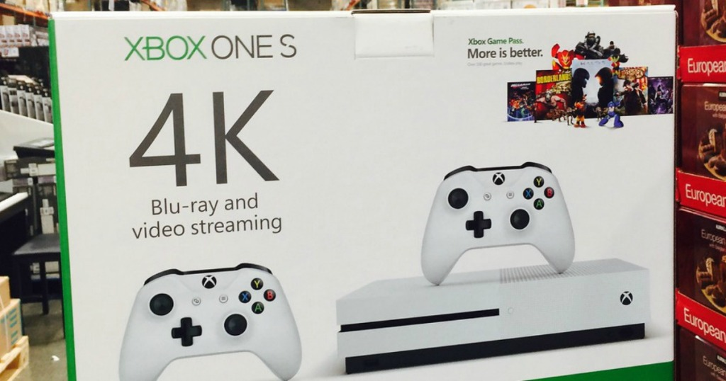 box with Xbox console in it in store