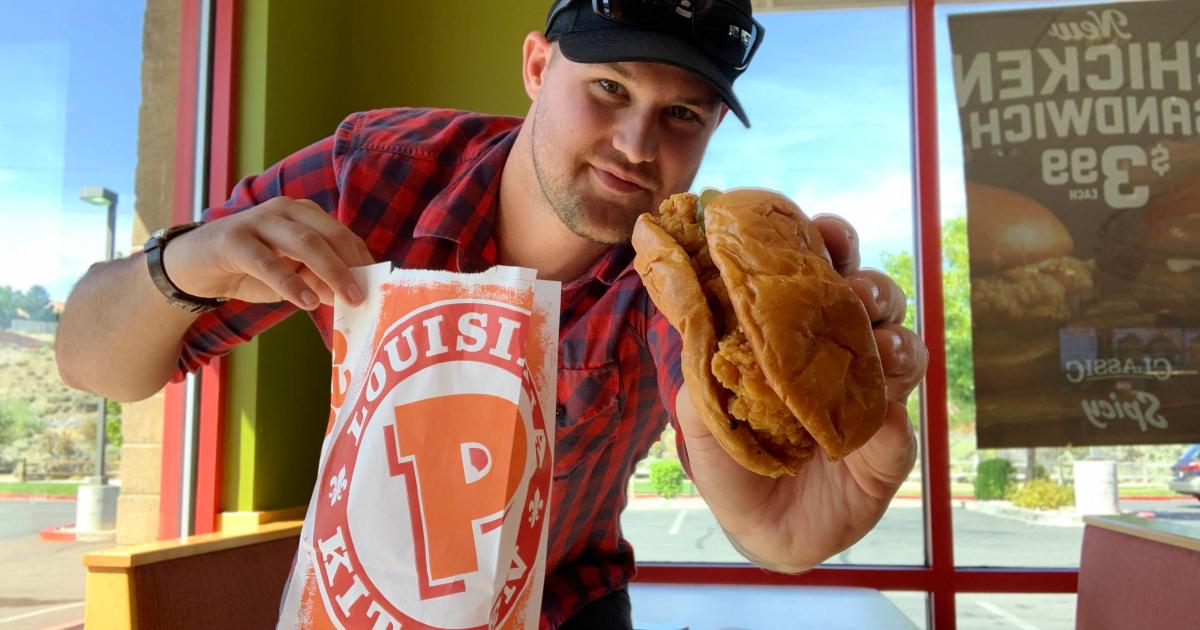 Stetson with Popeyes chicken sandwich