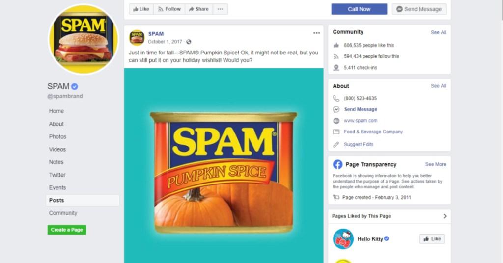 Pumpkin Spice SPAM on Facebook