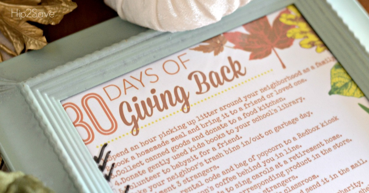 30 days of giving back printable in frame