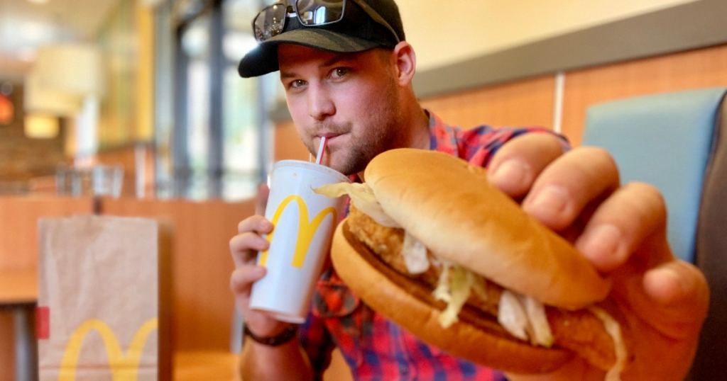 Stetson with McDonalds chicken sandwich