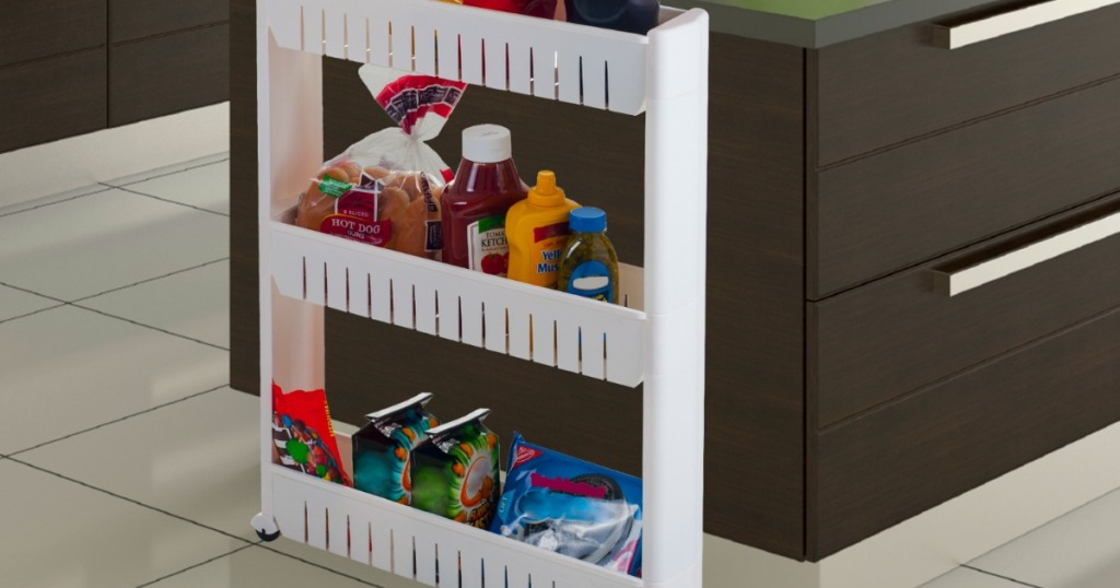 shelf unit filled with food in kitchen