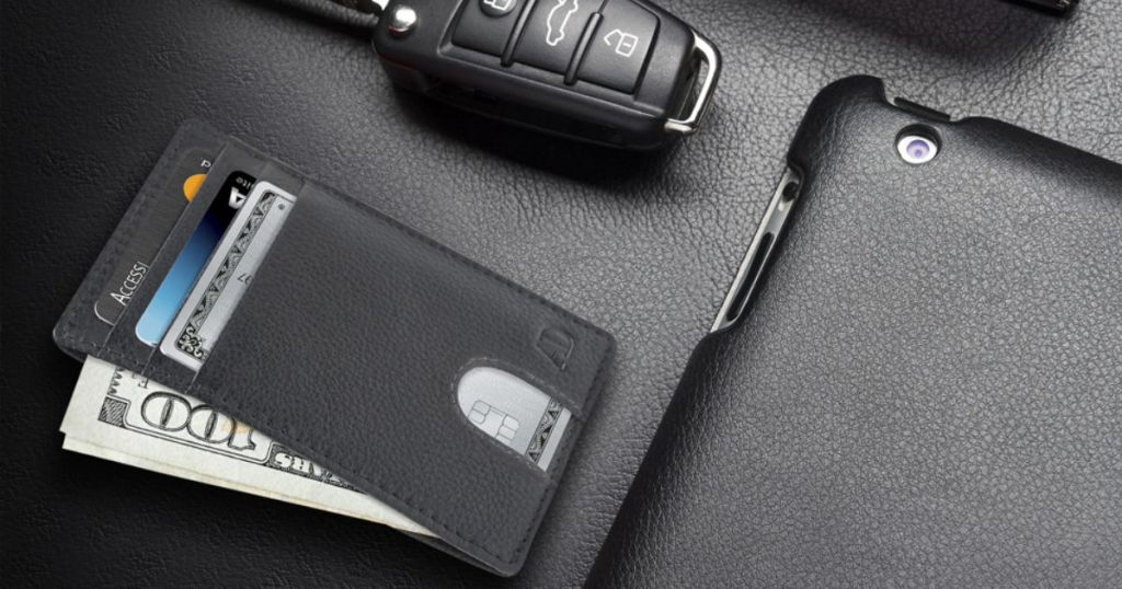 Access Denied Slim Minimalist Wallet with car key and phone