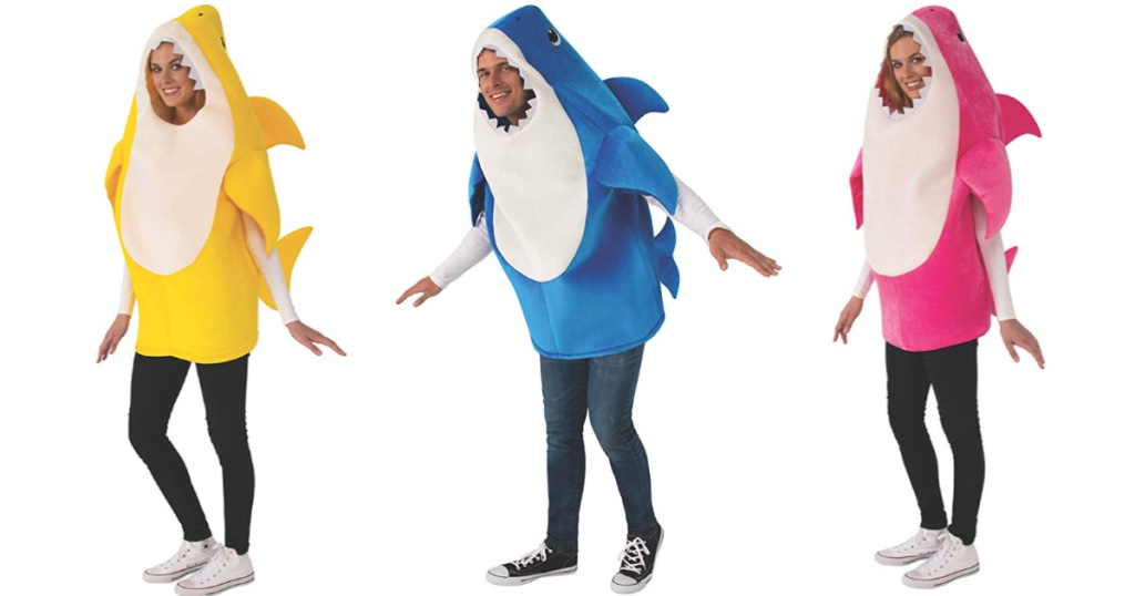 3 adults wearing baby shark costumes