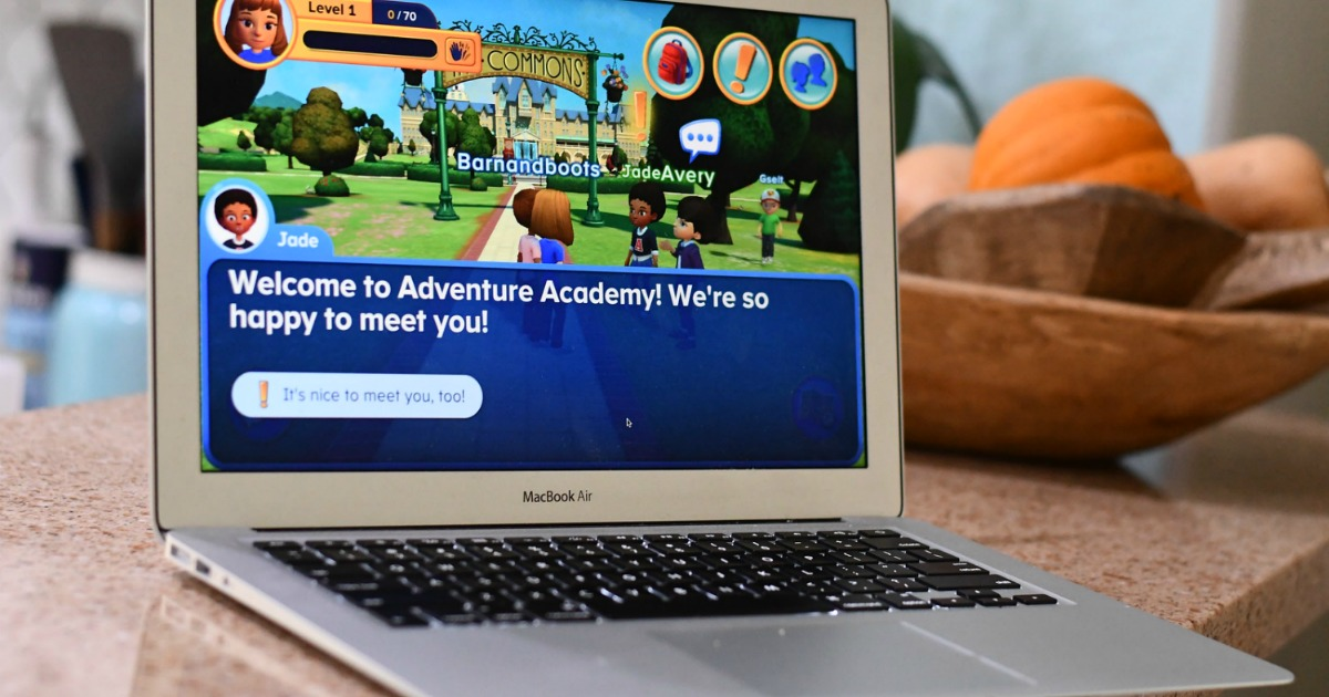 Adventure Academy Welcome Screen on laptop