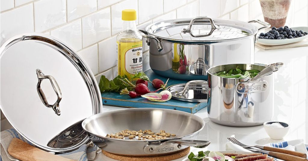 All-Clad Stainless Steel 7-Pc. Cookware Set in kitchen