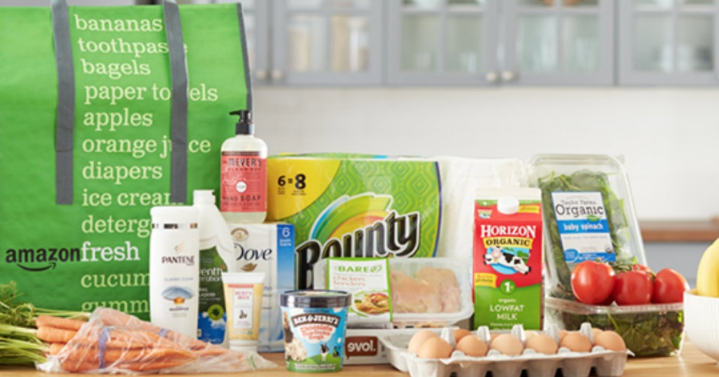 Amazon Fresh Grocery Delivery Sitting on Kitchen Counter eggs, paper towel