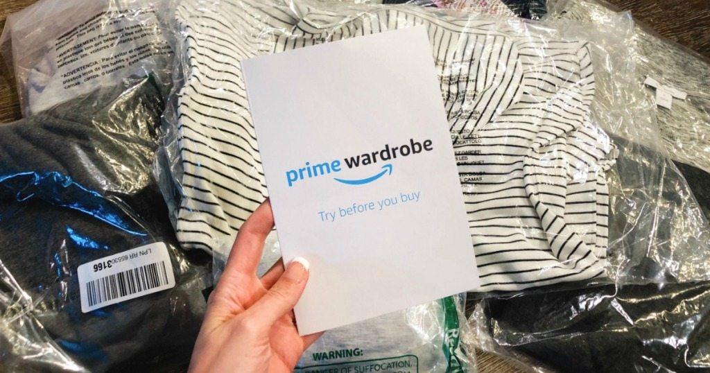holding Prime Wardrobe card above clothing