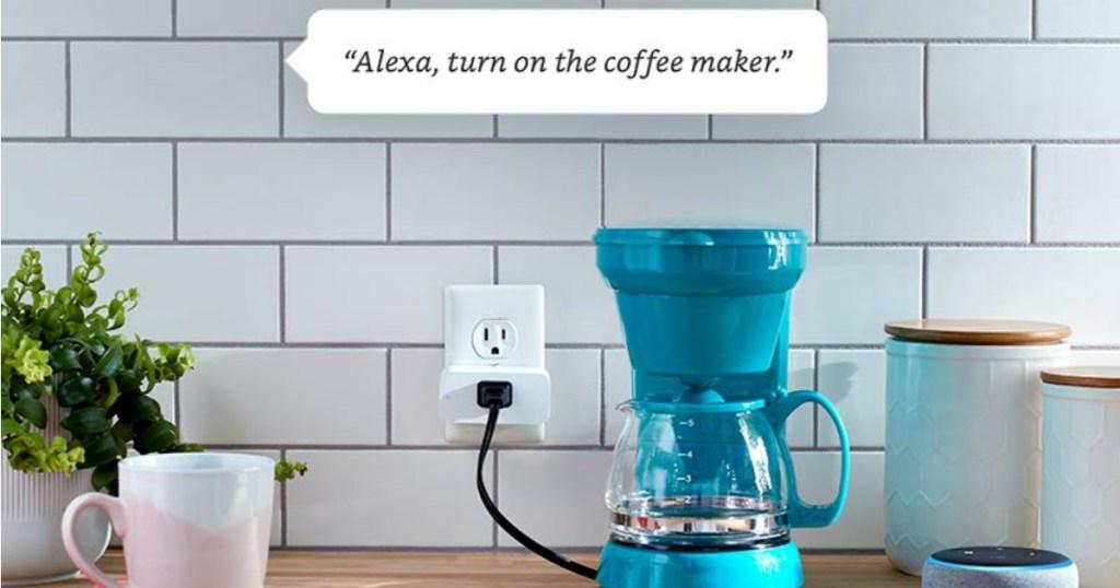 Amazon Smart Plug next to coffeemaker