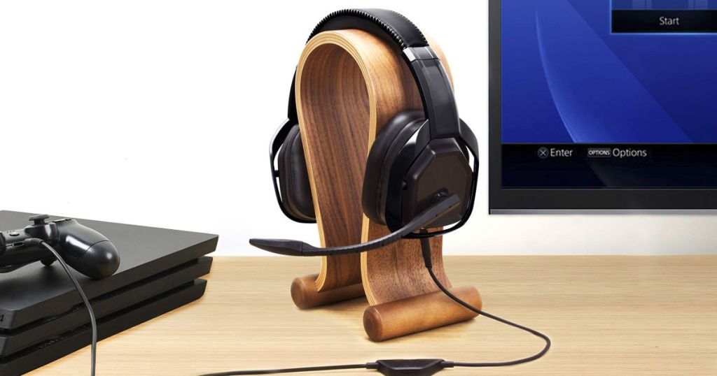 AmazonBasics Pro Gaming Headset on wooden head