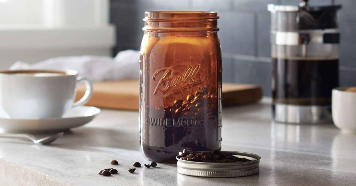 amber ball mason jar on kitchen counter