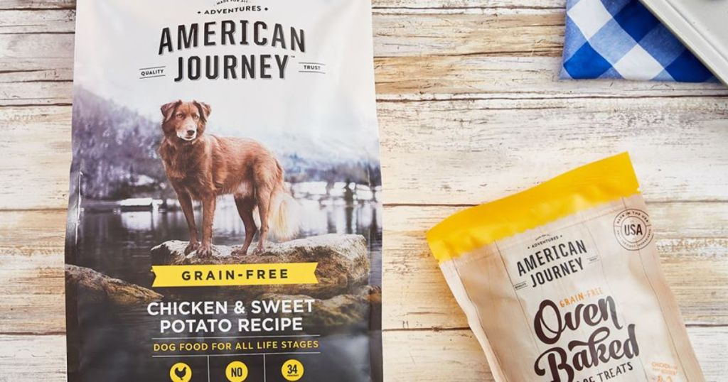 American Journey Dog Food or Dog Treats on wood background