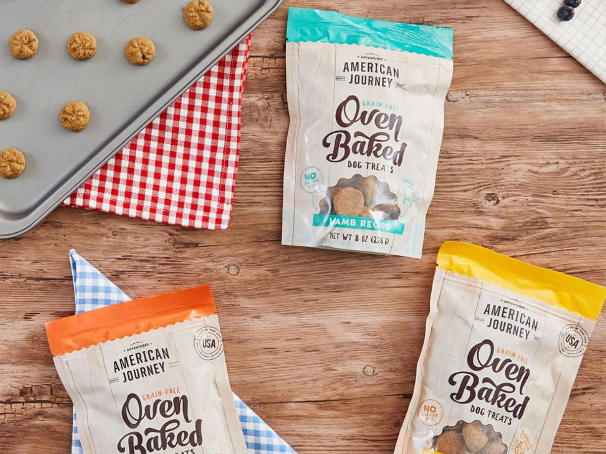 American Journey Oven Baked Dog Treats 3 packs with treats on cookie sheet