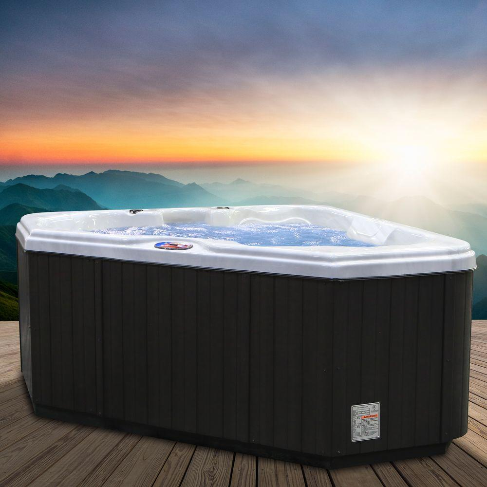 American Spas 2-Person 28-Jet Premium Acrylic Triangle Sterling Silver Spa Hot Tub