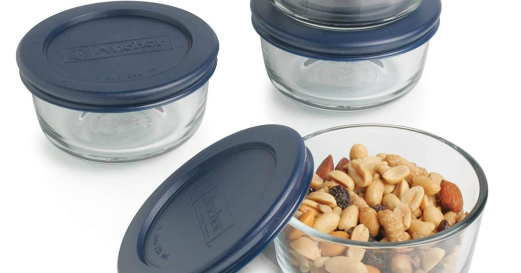 Anchor Hocking 1-cup containers with blue lids