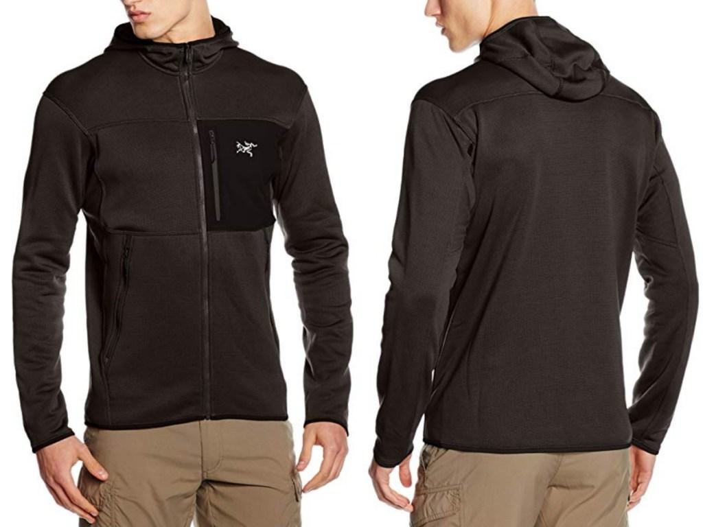 man modeling black hoodie
