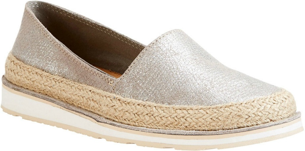 Silver metallic slip on shoes for women