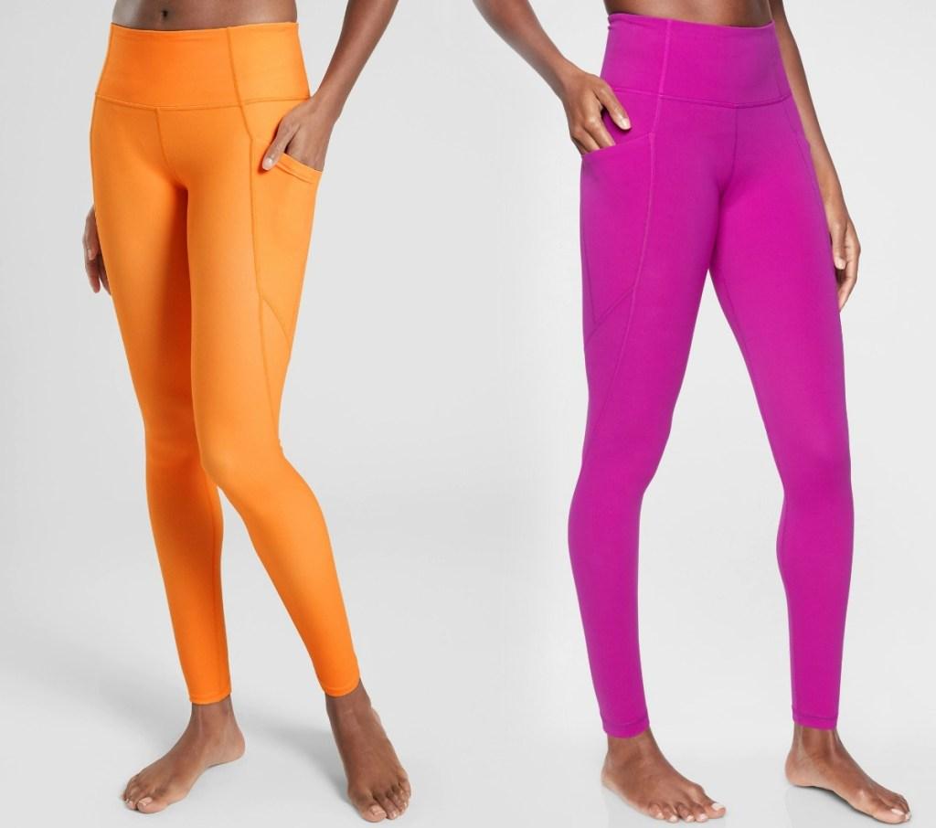 Athleta Women's Leggings in neon pink and orange
