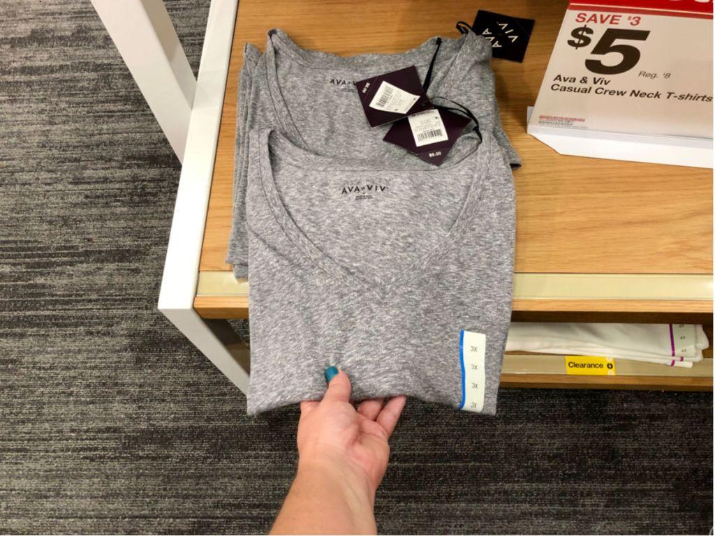 Grey Ava & Viv Crew Neck T-Shirt in Target