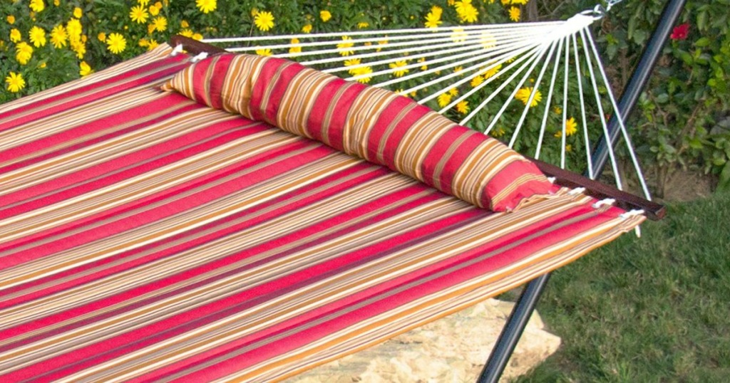 red and yellow striped hammock outside