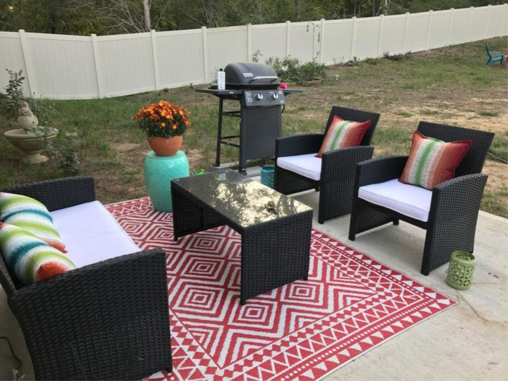 BCP 4-Piece Wicker Patio Set outside