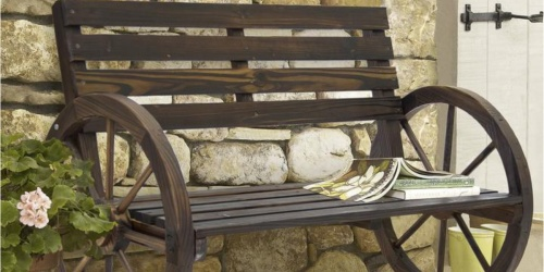 Rustic Wooden Wagon Wheel Bench Only $69.99 Shipped (Regularly $193)