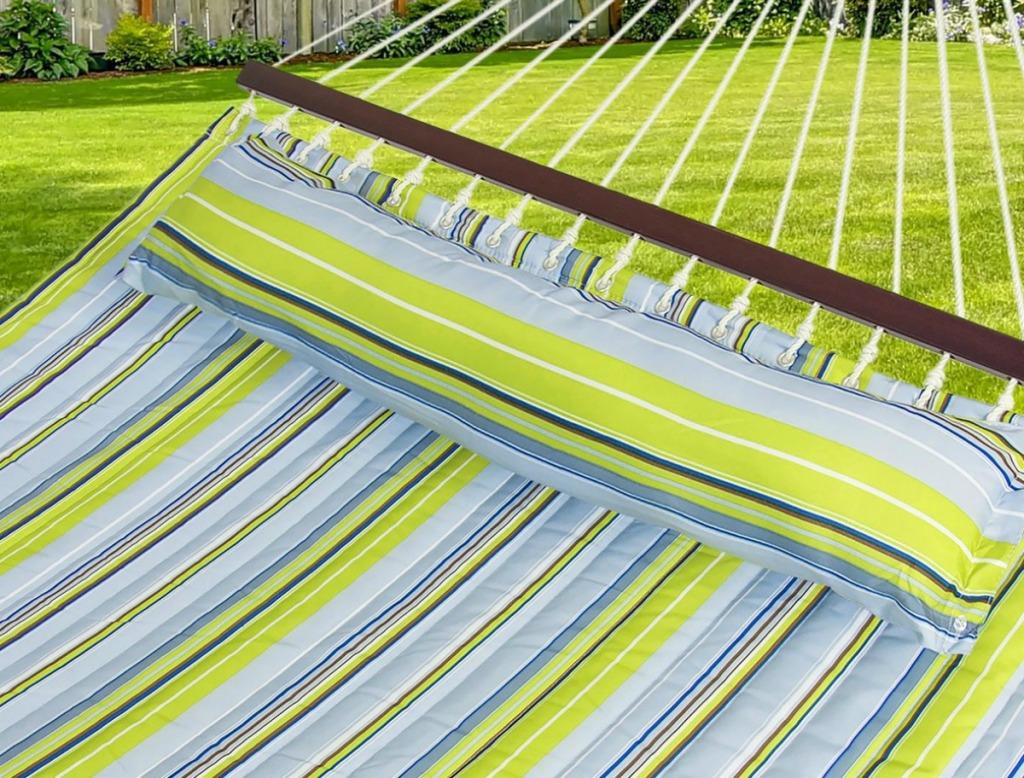 green and blue hammock outside