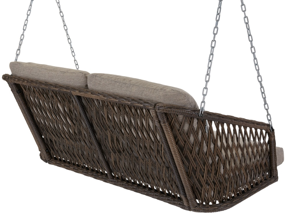 Back of Mainstays Battle Creek Outdoor Wicker Porch Swing with Cushions