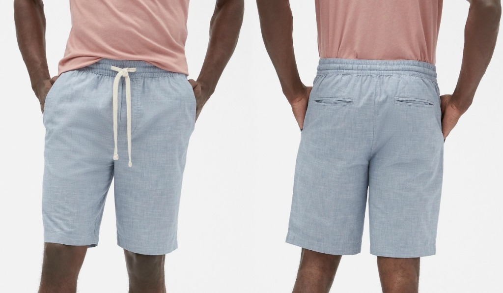 Gray men's shorts in front and back view