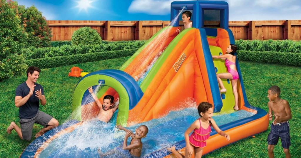 Quick Inflate Banzai Water Park in backyard