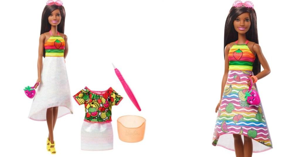 barbie crayola rainbow fruit surprise doll shown 2 ways with accessories