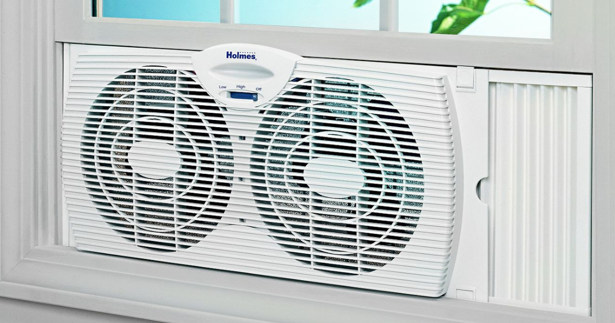 Holmes Whole Room Window Fan shown in window
