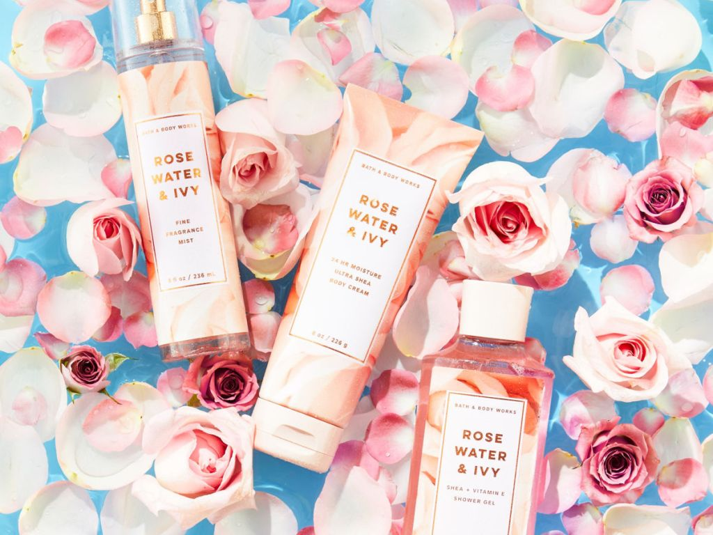Bath & Body Works Rose Water & Ivy Body Care Items with roses and blue background