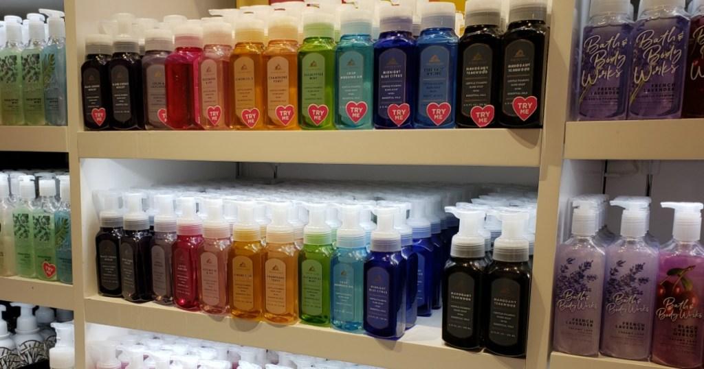 Bath & Body Works soaps on shelf