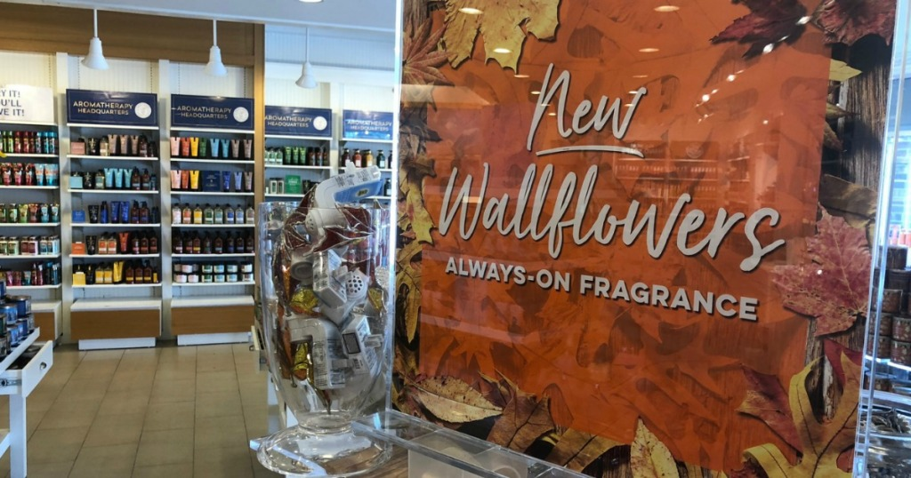 Bath & Body Works in-store display for Fall Wallflowers