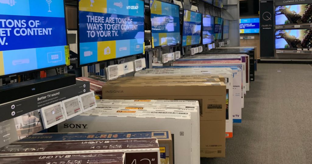 Best Buy TVs on Display with boxes in store