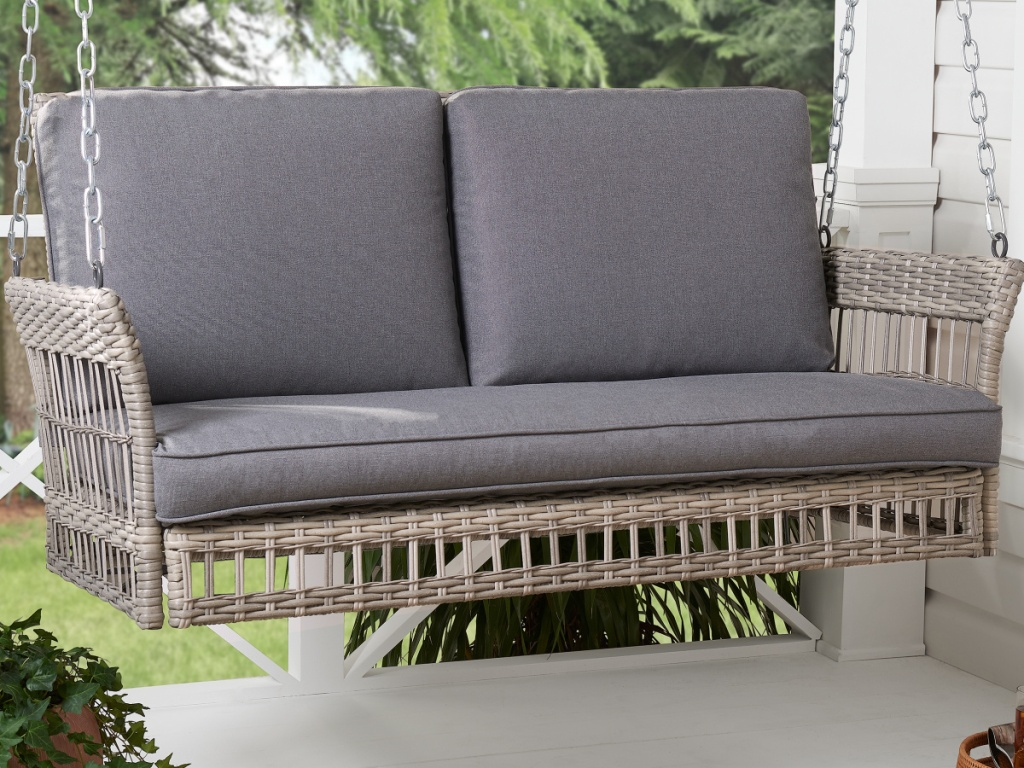 Better Homes & Gardens Belfair Outdoor Wicker Porch Swing with Gray Cushions