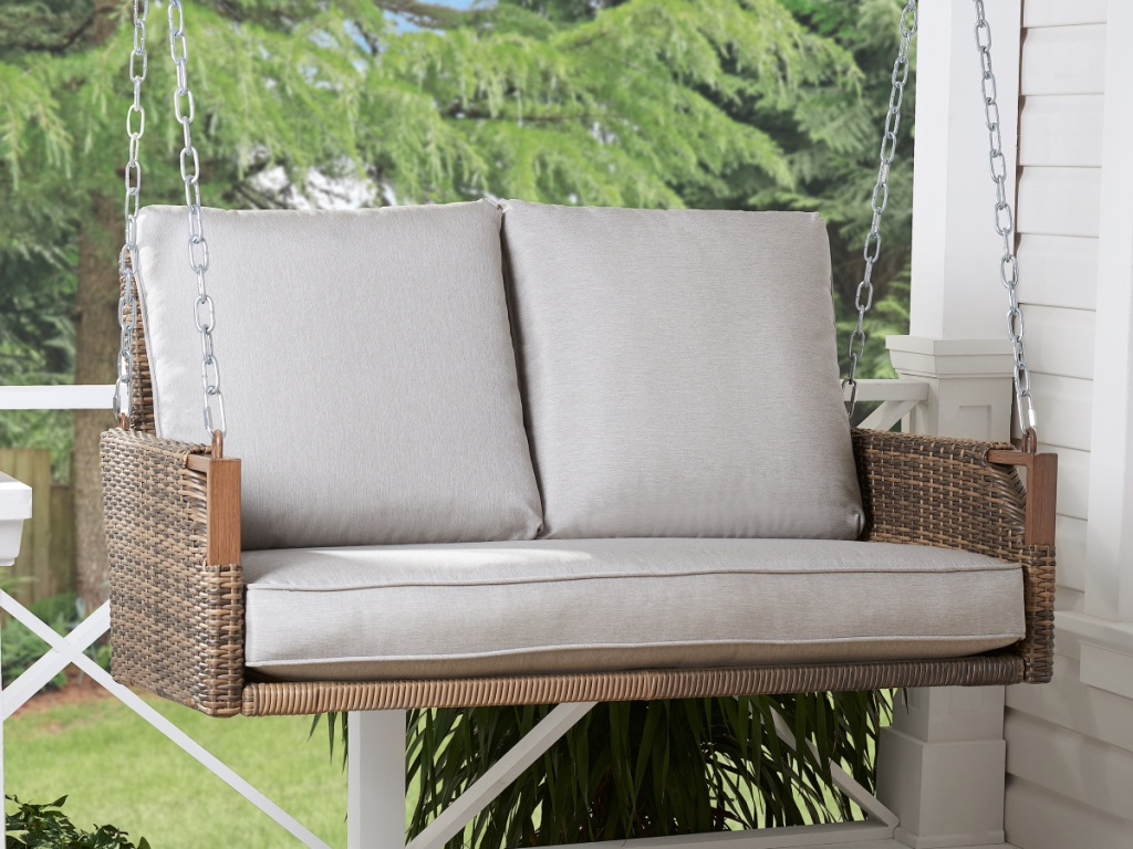 Better Homes & Gardens Davenport Patio Wicker Swing with Beige Cushions