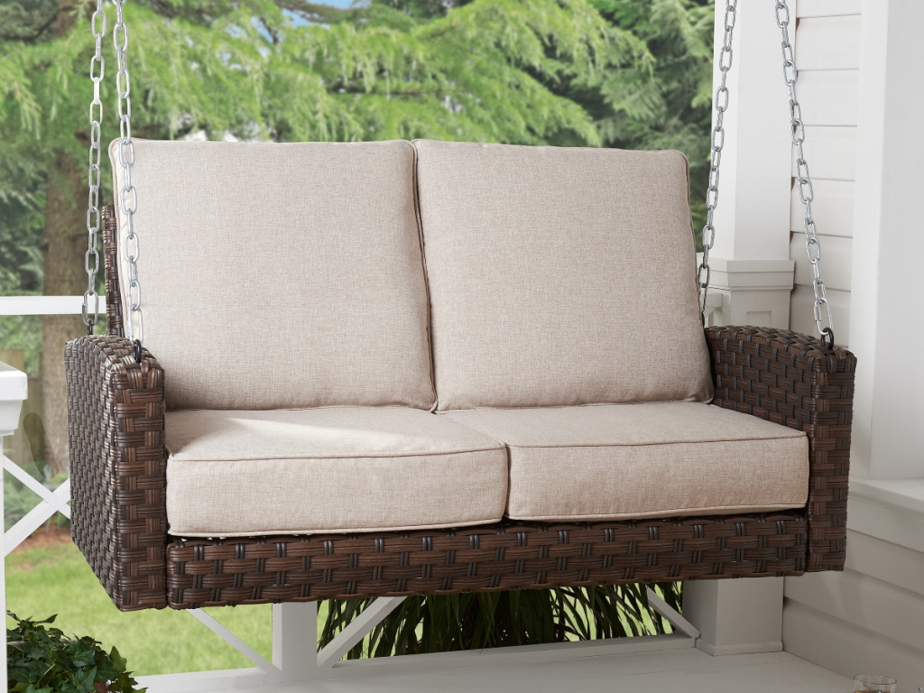 Better Homes & Gardens Hensley Outdoor Wicker Porch Swing with Beige Cushions
