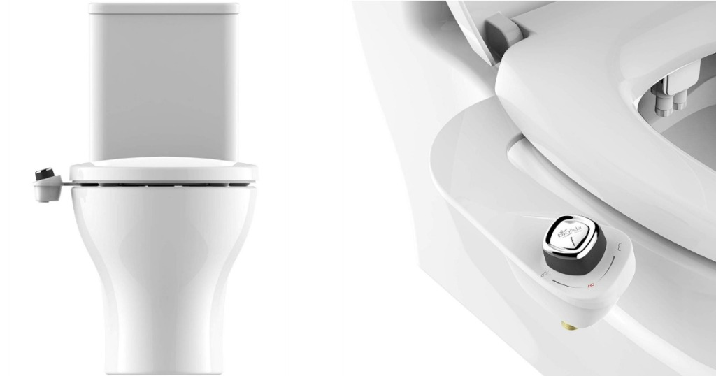 Bio Bidet SlimEdge Simple Bidet Toilet Attachment front and side view