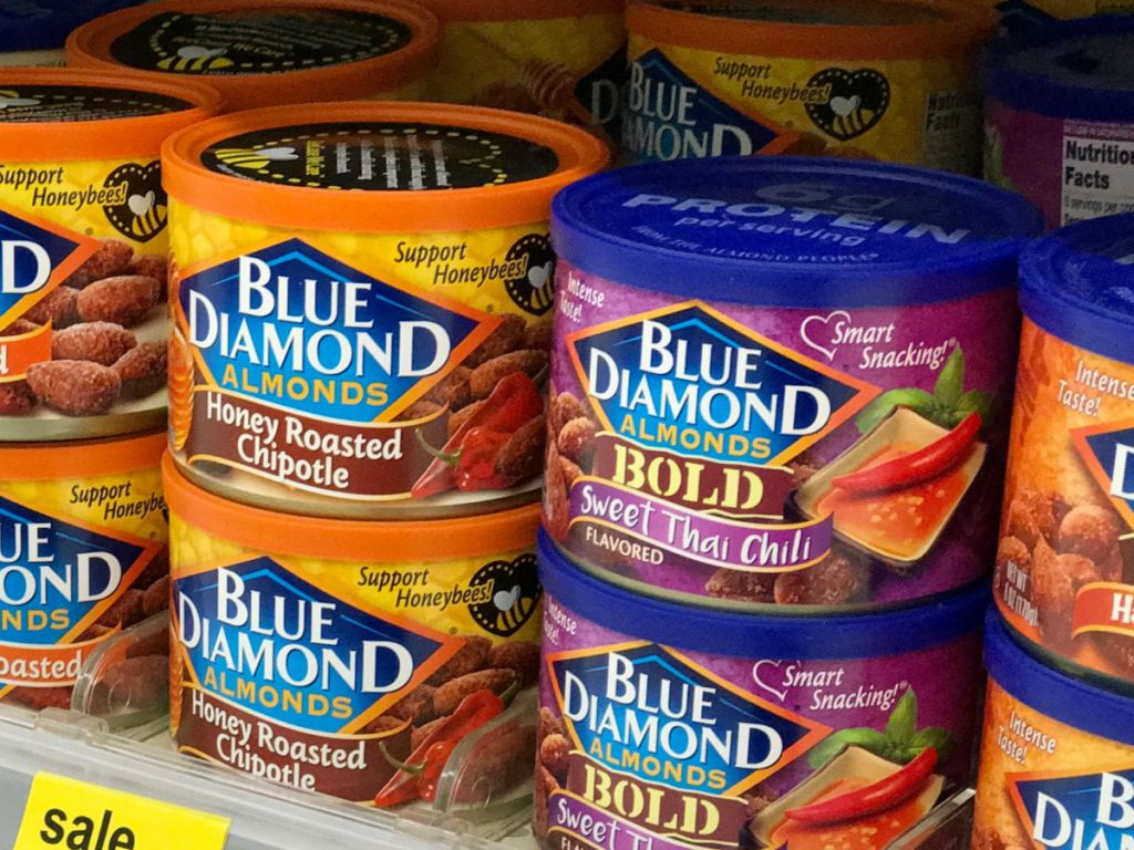 Blue Diamond almonds on shelf