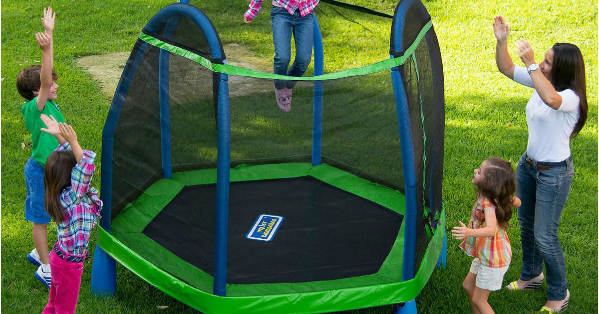 BouncePro My first Trampoline with family watching girl jumping inside