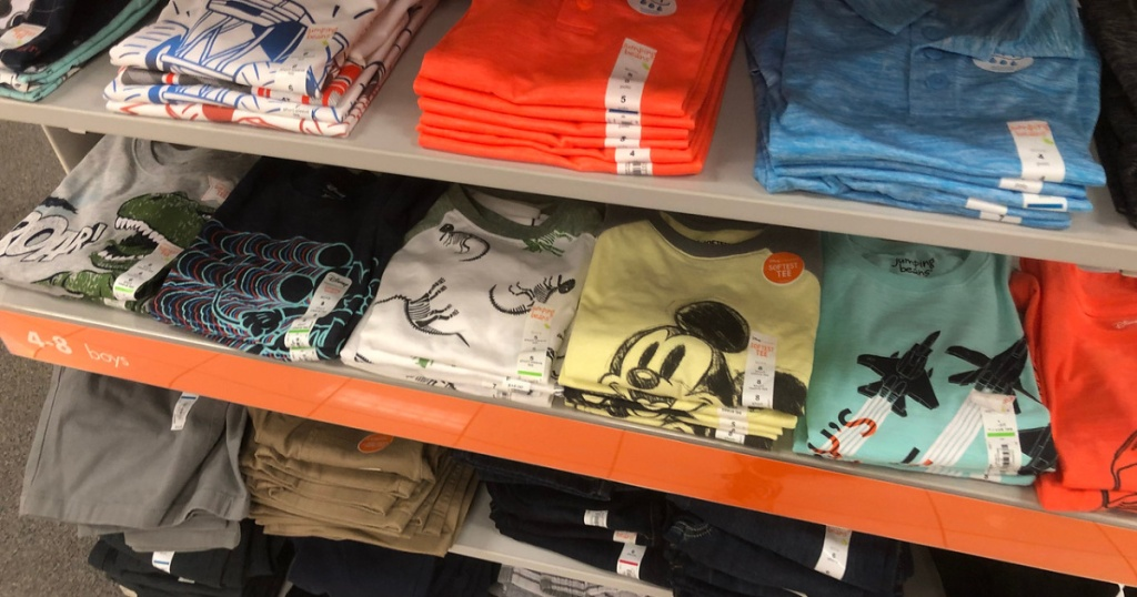 boys jumping beans clothing on shelf at store