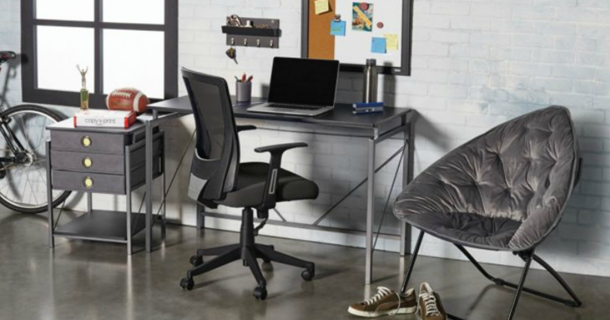 desk chair in a room with desk, armchair, and more