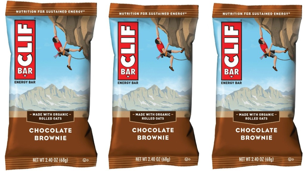 Three CLIF BAR brand energy bars in Chocolate Brownie flavor