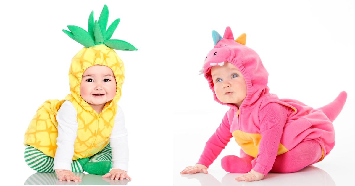 baby wearing pineapple costume baby wearing pink dino costume